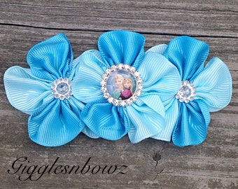 BEAuTiFuL Embellished BLuE and Aqua GRoSGRaiN CLuSTeR Flowers- FRoZEN Inspired 4 inch Size