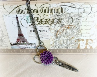 Scissor Necklace, Women's Pendant, Silver Scissors, Purple Flower Accessory, Steam Punk, Whimsical Necklace, Sweet Gift, Pretty Gift for her