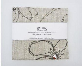 Linen Fat Quarter - Areco Gray hand printed by celina mancurti - Free Shipping to USA