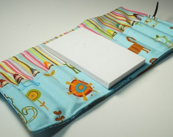 Crayon Wallet - Cats in Blue - cats.theme party favor.art wallet.toddler gift. Crayons and Pad NOT INCLUDED