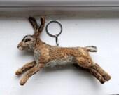 needle felted Running Hare/Rabbit Keyring