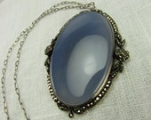 Circa 1920 Chalcedony and Marcasite Pendant Necklace Set in Sterling Silver