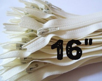 16 Inch vanilla YKK zippers, 25 pcs, ivory, off white, YKK color 121, dress, pouch zippers, sewing supplies