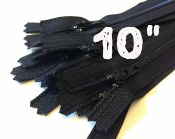 Zippers wholesale, 10 Inch black YKK zippers, 25 pcs, YKK color 580, dress, skirt, pouch zippers