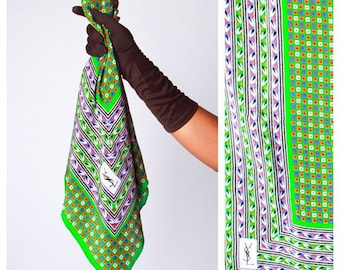 RARE Vintage 1970's Green Geometric Print YSL Yves Saint Laurent Large Silk Scarf