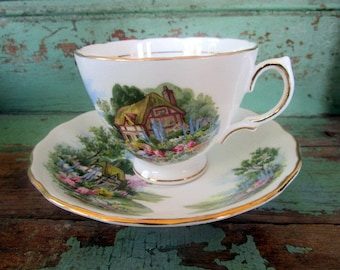 Vintage Teacup English Teacup A Cottage house Farmhouse painting scene