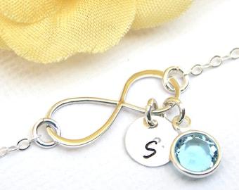 Personalized Infinity Birthstone Bracelet, Friendship Bracelet, Sterling Silver, Initial Bracelet