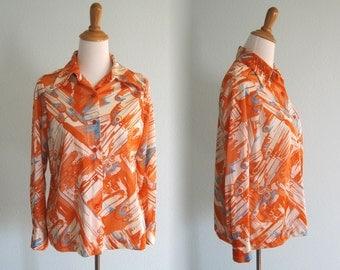 Vintage 1970s Shirt - Orange Splatter Print Blouse by Pykettes - 70s Nylon Print Shirt L XL
