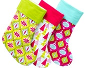 Large Embroidered Stockings Set of Three 3 - Choose Your Fabric - 40 to choose from