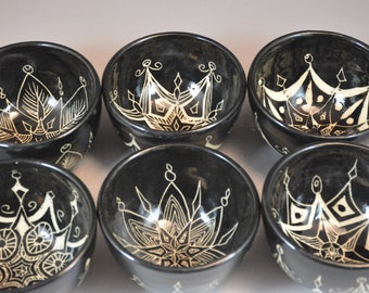 Set of 6 Eclectic Sgraffito Bowls- Ready to ship- price reduced