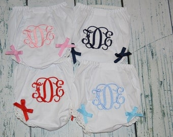 SET OF 4 Personalized Bloomers  monogrammed Baby Bloomers  diaper cover