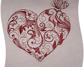 LACE HEART EMBROIDERY on Ladies' Tee or Sweat by Rosemary