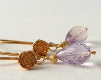 Golden flower earrings with Ametrine Silver Vermeil, gold plated purple earrings, rose bud,