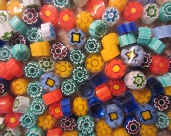 Millefiori Glass Slices, Transparent Mix, 2 Oz (56 grams), Lampwork, Mosaic, Fusing, coe104 Murano
