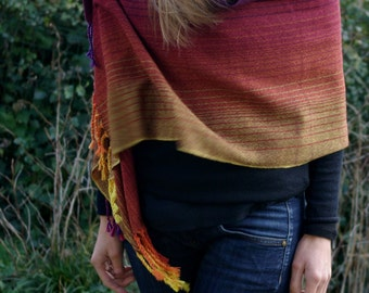 Handwoven multicolored merino, silk and cashmere scarf, accessories woven by Lamaisondesfibres