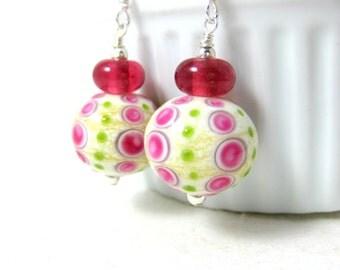 Pink & Green Glass Earrings, Lampwork Earrings, Cute Earrings, Hot Pink Lime Green Ivory Earrings Funky Earrings, Fun Dangle Earrings Preppy