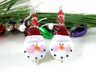 Christmas Earrings, Santa Snowman Earrings, Holiday Jewelry, Red White Holiday Earrings, Lampwork Earrings, Christmas Jewelry  Santa Snowmen