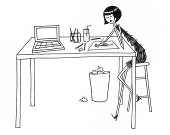 self portrait // Artist at work black and white illustration // art print