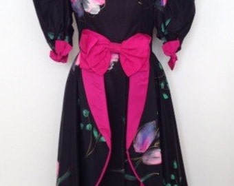 French vintage 1980s hand-painted black and pink princess ball prom dress