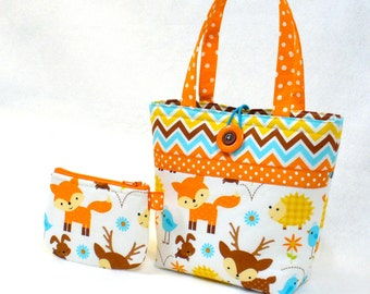 Baby Fox Little Girls Purse Woodland Baby Animals Mini Tote Bag Coin Purse Set Hedgehog Bunny Deer Chevron Orange Turquoise Kids Purse MTO