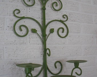 vintage upcycled GREEN Candelabra ~ 3 Arm Wall Sconce Candle holder Pop Of Color