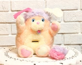 Vintage PENNY POPPLE plush stuffed Animal BANK 1980s toys