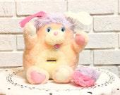 Vintage PENNY POPPLE plush stuffed Animal BANK 1980s toys
