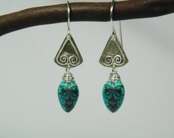 Polymer Clay Millefiori and Sterling Silver Dangle Earrings - Handcrafted