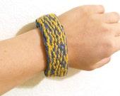 Tablet Woven Bracelet - Blue, Gold