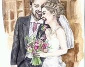 custom bespoke wedding portrait - charming watercolour painting produced from photograph