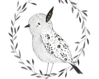 Be Brave Bird art print - 8X10, 11X14