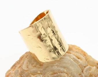 Handmade Ring, 14K Gold Ring, Wide Band Ring, Cigar Band Ring, Hammered Ring,  Trendy Ring, Champagne Bubbles ring