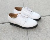 ON HOLD for SAM. White pebbled leather oxfords. 6-6.5