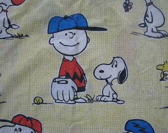 Vintage Peanuts Snoopy Twin Bedspread Yellow Check Sports Coverlet Sheet Kids