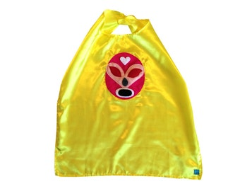 Luchador Rosa - Pink Mexican Wrestler Cape - Yellow