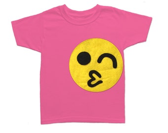 Emoji Wink Smiley Toddler T-Shirt [RASPBERRY]