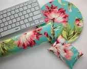 love bliss bouquet Mouse pad set - mouse wrist rest - keyboard rest - coworker gift, under 50, office accessories, desk, cubical decor