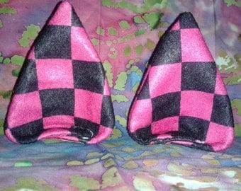 Pink and Black Checker felt ears