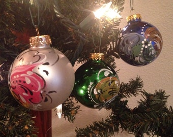 Norwegian rosemaled glass ball ornament small you choose color