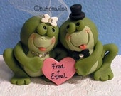 Custom Funny Frogs in Love Wedding Cake Toppers