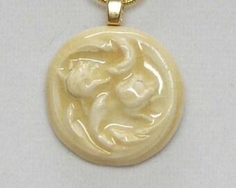 Porcelain Cream Floral Button Necklace Pendant