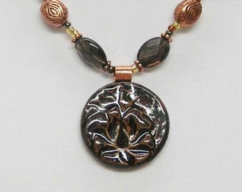 Stoneware Pendant Necklace and Earring Set