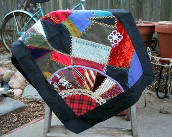 Vintage Crazy Quilt Table or Piano Scarf