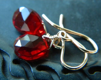 Deep red faceted quartz 14k gold filled earrings - wire wrapped handmade gemstone jewelry