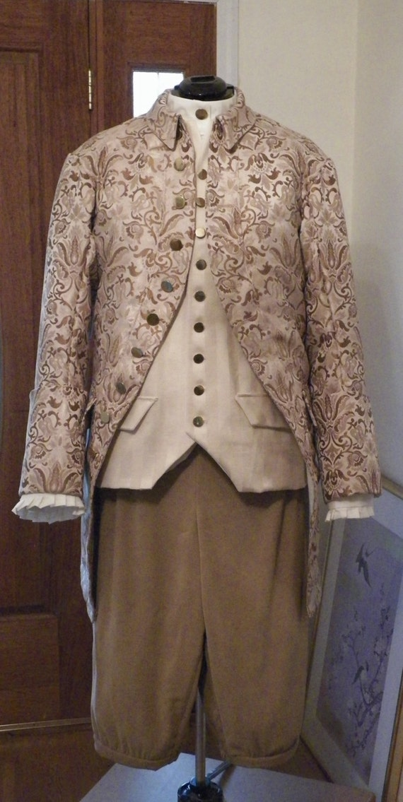 Mens' Colonial 1700 Frock Coat, Waistcoat, Breeches, Shirt, Frock Coat 4 Peice Set, 18th Century Frock Coat Set for Men,