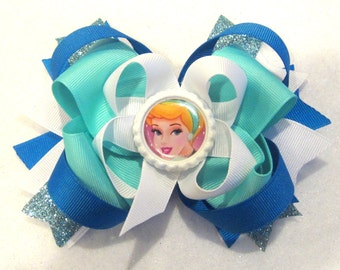 Cinderella Blue Fantasy Funky Large Boutique Hair Bow Fancy Princess Layers of Loops and Spikes for Baby Toddler to Little Girl