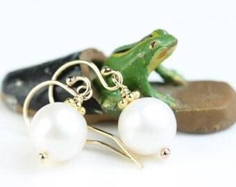 Pearl Drop Earrings, Gold filled French hooks, round 9mm white Freshwater Pearl, June Birthstone, simple dangle pearl earrings, art4ear