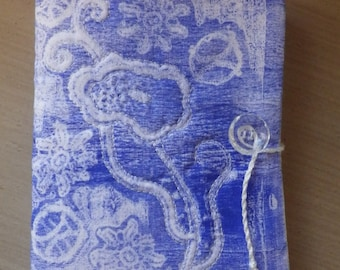 Faded Lace Journal - Blue and White, Handmade