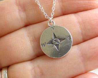 Compass Necklace , Compass Jewelry , Nautical Necklace , Graduation Gift , Silver Necklace
