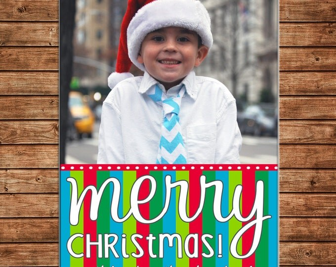 Christmas Holiday Photo Card Multi Stripe - Can Personalize - Printable File or Printed Cards